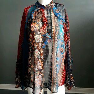 Zara flowy ruffle boho blouse